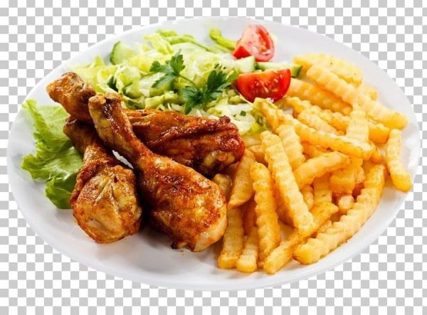 imgbin buffalo wing fried chicken french fries fast food chicken fingers fried chicken pasta salad cooked chicken salad and fries on round white ceramic plate 6d0KJqZQgk98grL5UBmanmjZj