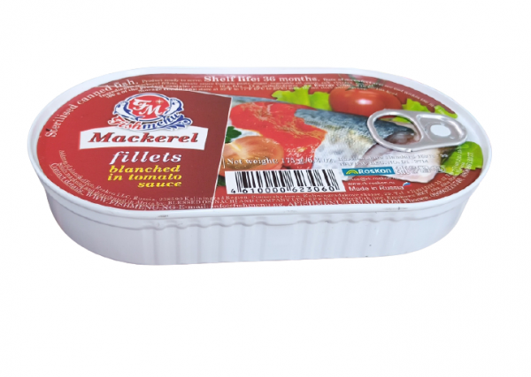 Fish Menu Mackerel Fillets Blenched in tomato sauce